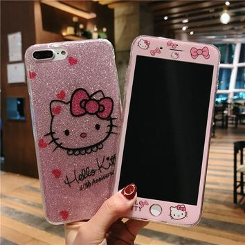 For iphone 8 8plus Pink kt TPU Cover + Tempered Glass Screen Protector for iPhone 7 7Plus 6sPlus bling Hello Kitty soft case