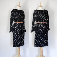 Vintage 70s/80s Black & White Peplum Dress