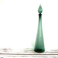 Vintage Italian green glass decanter genie bottle w lid // 26 inches tall