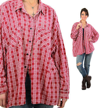 Red Flannel shirt Oversize long sleeve Vintage 1990s Grunge Unisex Hipster red white Checkered Oxford Large