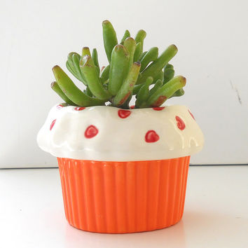 Sweet Heart Cupcake Planter in Orange Great Office Gift Housewarming Gift Succulent Planter Cupcake Theme Kitchen