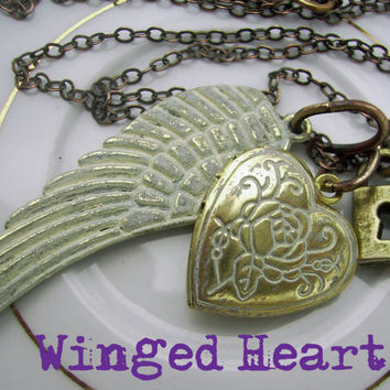 Antique Brass Heart Locket Necklace, Padlock Key Charm, Vintage Style Patina Wing Pendant - Mothers Day Jewelry, Winged Heart