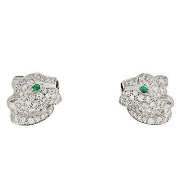 Cartier Panthere Onyx Emerald Diamond White Gold Earrings
