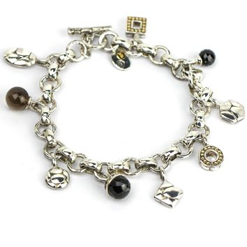 John Hardy Toggle Charm Bracelet in Sterling Silver and 18k Yellow Gold