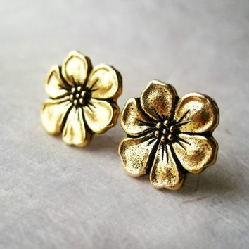 Gold Flower Earrings. Floral Apple Blossom Post Earrings. Metallic Gold Plated Earrings. Simple Classic Bridal Earrings.  FSE1
