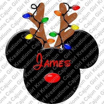Christmas Deer Lights on Antlers Personalized with Name/Date Mickey Mouse Head Printable Digital Iron On Transfer Clip Art DIY Tshirts