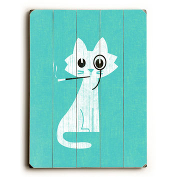 Aristocrat Cat by Artist Budi Satria Wood Sign