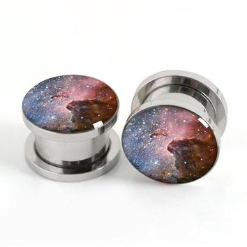 Starry Night Sky Galaxy Graphic Stainless Steel Screw Style Plugs Gauges Tunnels 4-20mm 1Pair