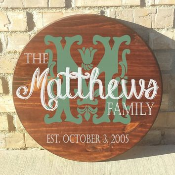 "Family Names Custom Made 18"" Round Wood Name Sign. Handpainted. Custom Name. Family Sign. Wedding Gift."
