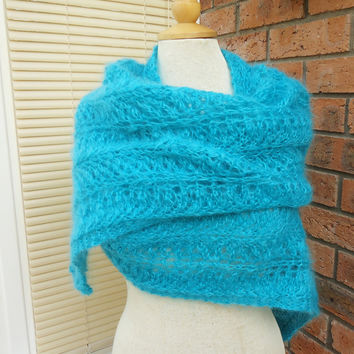 Large Mohair Shawl Large Hand Knit Mohair Wrap,Hand Knit Mohair Stole,Lace Scarf