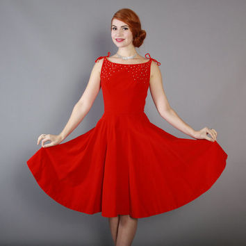 50s RED Velvet Emma Domb Cocktail DRESS / Vintage 1950s Party Dress with Full Skirt and Rhinestone Studs, xs