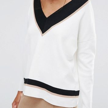 New Look Contrast V Neck Sweater at asos.com