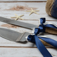 Rustic Cake Cutting Set Wedding  Nautical Cake Knife Set Navy Blue Cake Serving Set Cake Decoration Burlap Cake Set