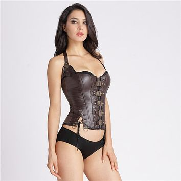 2016 Sexy Women Halter Neck Lace-Up Slimming Faux Leather Spliced Women's Waist Trainer Corsets And Bustiers