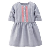 Carter's Striped Embroidered Woven Dress - Toddler