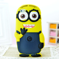 Cute 3D Cartoon Despicable Me Yellow Minions Silicon Cover Case For Apple iPhone 4 4S 5 5S 6 6S 6Plus 6S Plus Fundas
