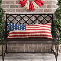 Vintage American Flag Bench Pillow