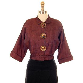 Vintage Changeable Silk Blouse Amazing Buttons 1930s Provenance Med Sonja Loew