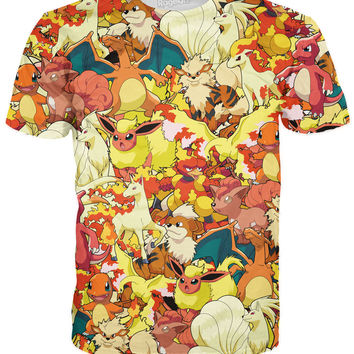 Original Fire Pokemon Collage T-Shirt