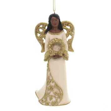 Holiday Ornaments BLACK ANGEL WITH GOLD WINGS African American E0205 Wreath