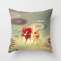 hello my deer Throw Pillow by Rachel Bellinsky