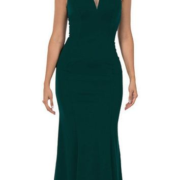 Cap Sleeved Green Long Formal Dress V-Neck and Back