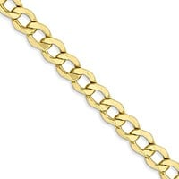 5.25mm, 10k Yellow Gold Hollow Curb Link Chain Necklace