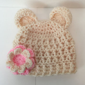 Bear Beanie/ Hat with Flower - Any Color(s)  - All Sizes Available