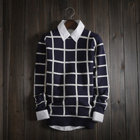 Mens Comfortable Soft Knitwear Square Sweater