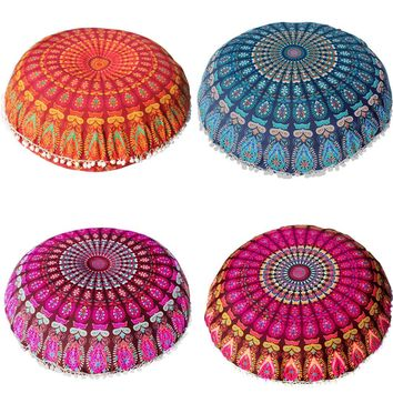 Cushion Cover Large Mandala Floor Pillows Round Bohemian Meditation Cushion Cover Ottoman Pouf cojines decorativos para sofa Hot