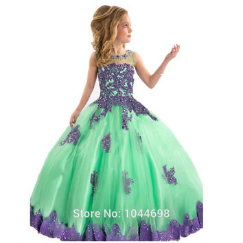 Mint Green Flower Girls Pageant Dresses 2017 Sexy High Neck Applique Crystal Beading Flower Girls Dresses For Party And Wedding