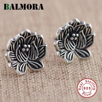 BALMORA 100% real 925 sterling silver jewelry retro Lotus flower vintage stud earrings for women high quality aretes SY31207