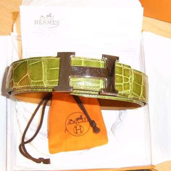 Hermes Porosus Crocodile Belt, 100% Authentic, 90cm. Unisex.