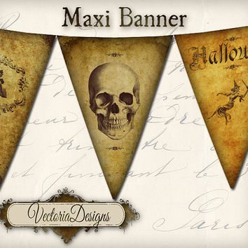 INSTANT DOWNLOAD Printable Halloween Banner party banner digital collage sheet 217