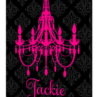 Personalized Girls Canvas Wall Art, Girls Name Sign, Vintage Damask Background With Chandelier
