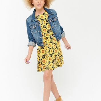 Girls Sunflower Print Skater Dress (Kids)