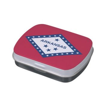 Patriotic candy tins with Flag of Arkansas