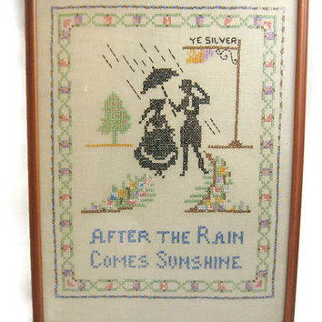 Completed Vintage Cross Stitch Silhouettes - After the Rain Comes Sunshine