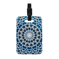 "Iris Lehnhardt ""Mandala II"" Blue Abstract Decorative Luggage Tag"