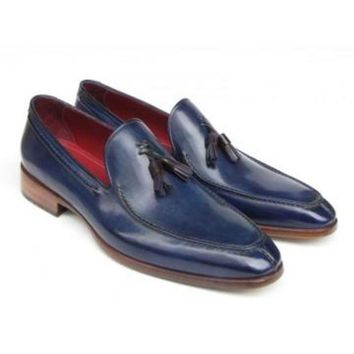 ac NOVQ2A Paul Parkman Men's Tassel Loafer Blue Hand Painted Leather