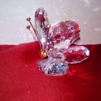 Swarovski Signed Crystal Butterfly Retired #10002 In A Summer Meadow Collection Designer Art Glass Insect Figurine AB Austrian Crystal Pet