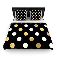 "KESS Original ""Golden Dots"" Black Gold Woven Duvet Cover"