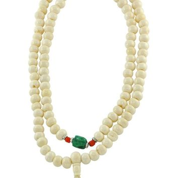 Tantric and Healing White Bone Mala 108 Beads with Turquoise