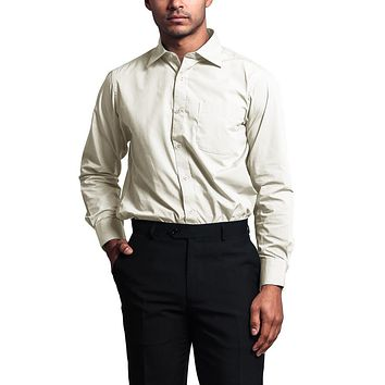 Regular Fit Long Sleeve Dress Shirt - Cream