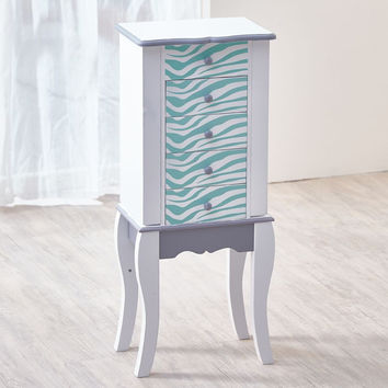 Teamson Kids - Fashion Prints Jewelry Armoire - Zebra (Aqua Blue / White)