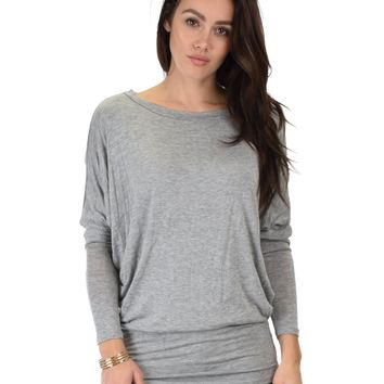 Lyss Loo Contemporary Long Sleeve Grey Dolman Tunic Top