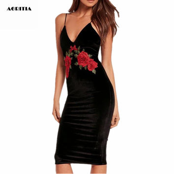2016 Women Autumn Winter V-neck Dress Strap Sexy One Piece Velvet Embroidery Dresses