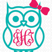 Monigram decal, Owl Monogram Decal/Yeti Decals/Owl/sticky decals for hard surfaces/lily inspired owl decal/cup decal/monogram owl with bow d