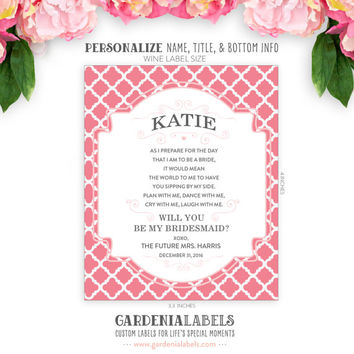 Custom Will you be my Bridesmaid / Maid of Honor Label - Personalized Wine Label Stickers - Wedding Bridesmaid Gift - Custom Wedding Label