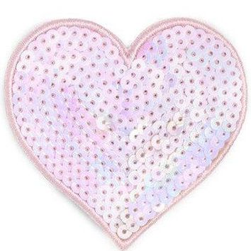Pearlescent Sequin Mini Heart by Bando - Wear as a Pin or Hair Clip!